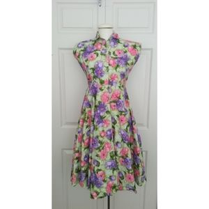 50's Vintage Floral Cotton Dress